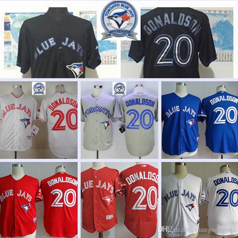 42860d9e6 ... Jersey Blue White Red Grey Black Beige Throwback 2017 Majestic Official  Cool Base MLb Stitched 40th Toronto Blue Jays 20 Josh Donaldson White BLue  Mens ...