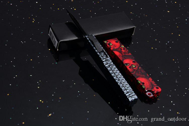 Hebilla de llave Mini acción Punto de caída 440 Manija de una sola hoja Doble acción doble Auto EDC que acampa Utilidad navajas tácticas