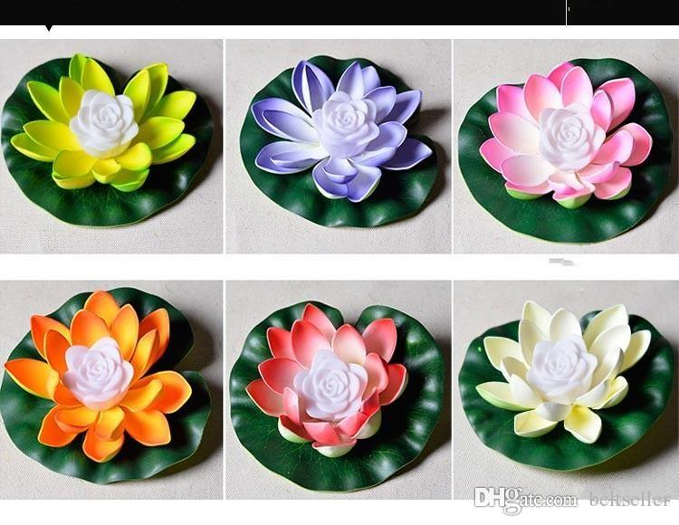 Lotus LED lampada colorata Cambiando LED artificiale Lotus galleggiante acqua casa serbatoio Decor 20pcs / lot