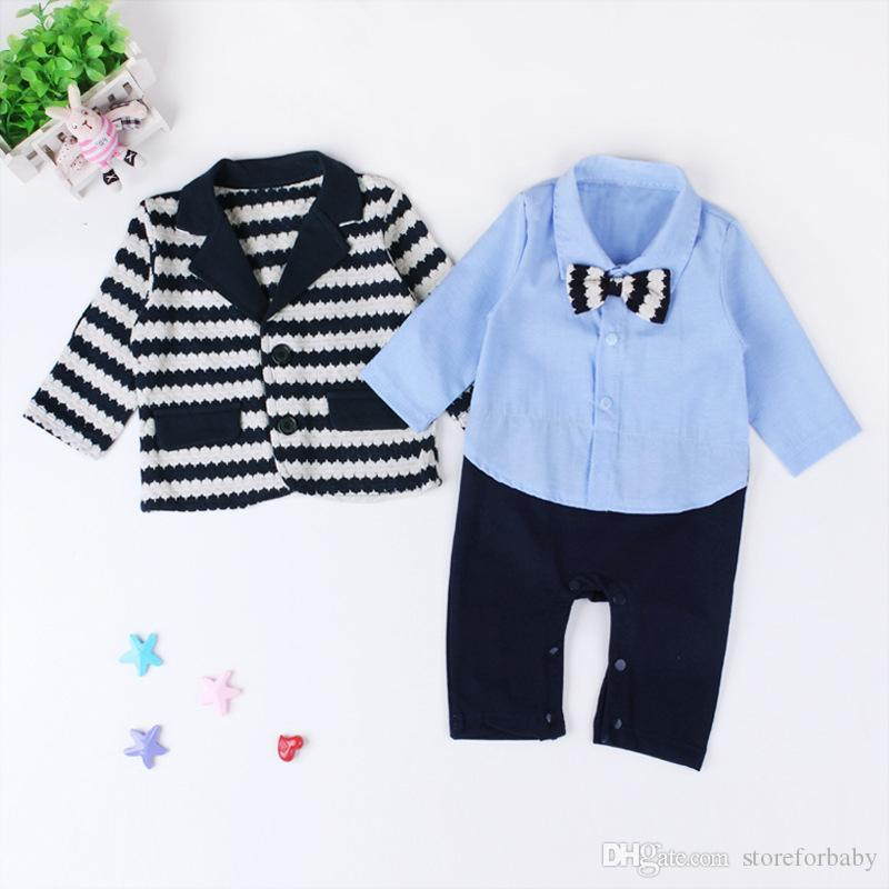 spring baby boy clothing sets boy gentlemen infant baby clothes suits bow toddler boy shirts rompers striped baby boys suit coat