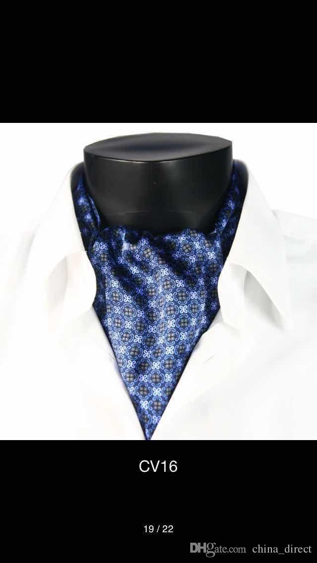 2017 Paisley Floral Spot mens 100% seda Ascot pañuelo, negocios ocasionales bufandas bufanda ata partido tejido Ascot FB corbata 5 unids / lote # 4031