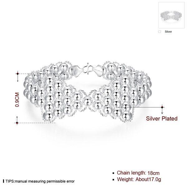 hot sale Bow tie beads plate 925 silver charm bracelet 18cm EMB401,women's sterling silver plated jewelry bracelet