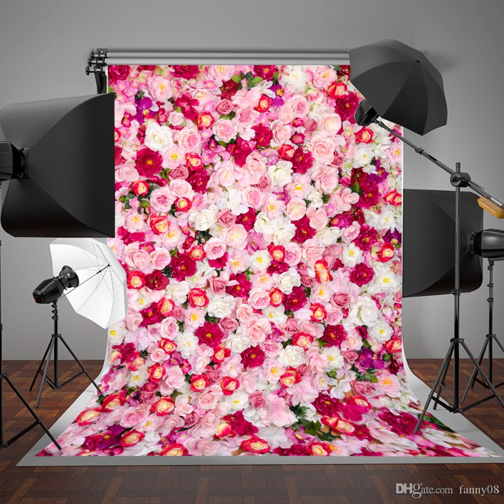5x7ft150x220cm White And Red Flowers Photography Backdrops For