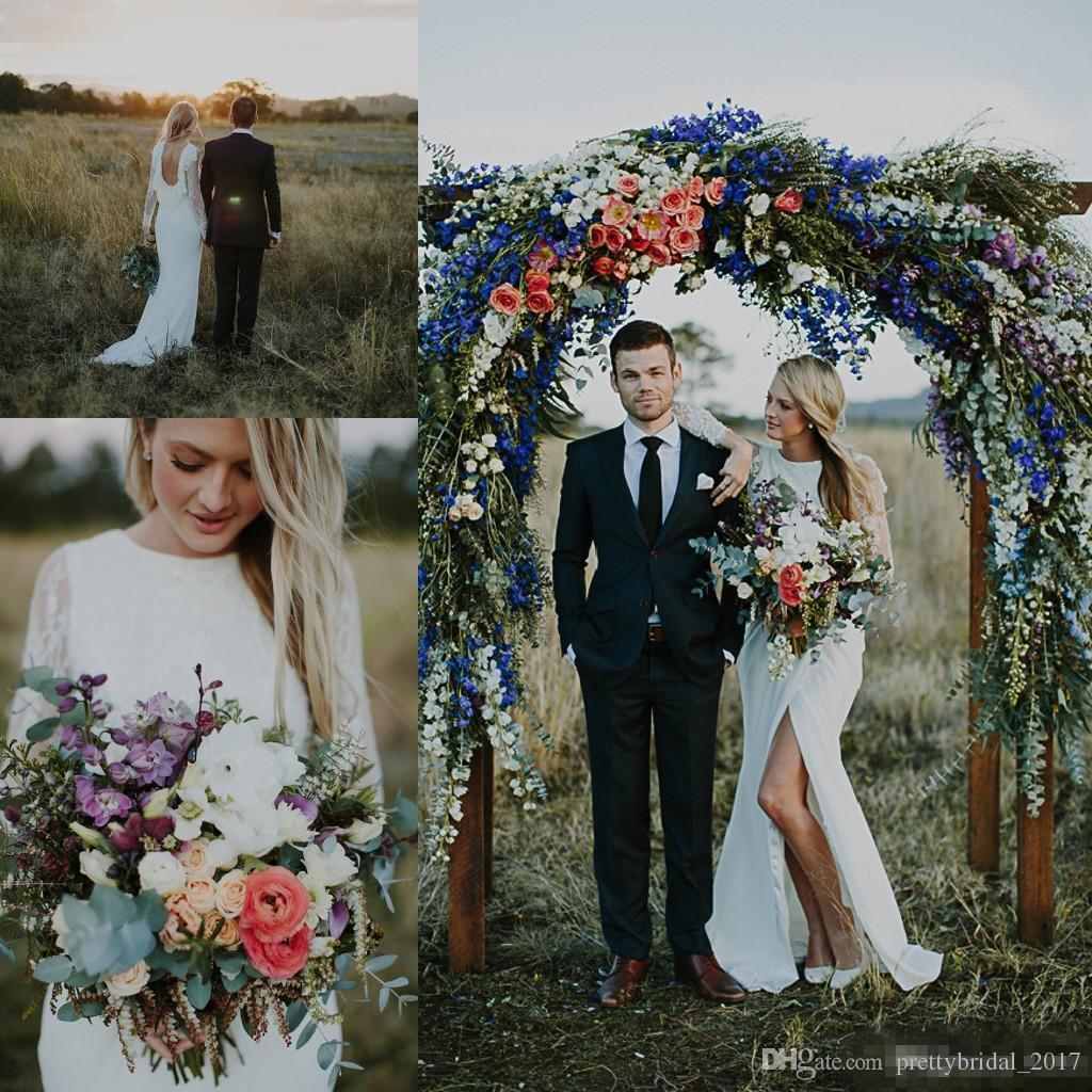 Discount Boho Hippie Beach Western Civil Wedding Dresses With Long ...