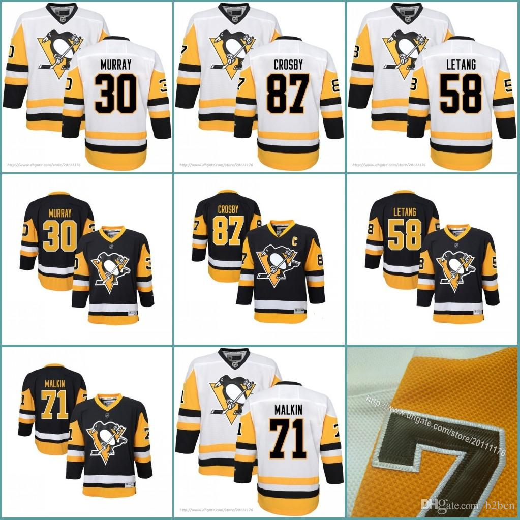 sale retailer b38d6 ac60d Youth Pittsburgh Penguins Kids 87 Sidney Crosby 71 Evgeni Malkin 58 Kris  Letang 30 Matt Murray Jerseys