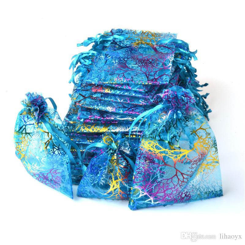 Coralline Органзы Drawstring Упаковка Ювелирных Изделий Мешки Партии Конфеты Свадебные Пользу Подарочные Пакеты Дизайн Sheer с Узор Золочения 10 х 14 см 100 шт