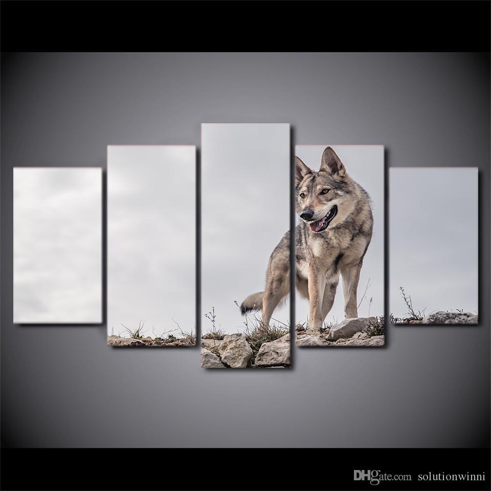 5 Unids / set Enmarcado Impreso Lobo Salvaje Pintura Cartel de Animales Moderno Hogar Decoración de Pared Imprimir Lienzo Pintura Cuadro de la pared