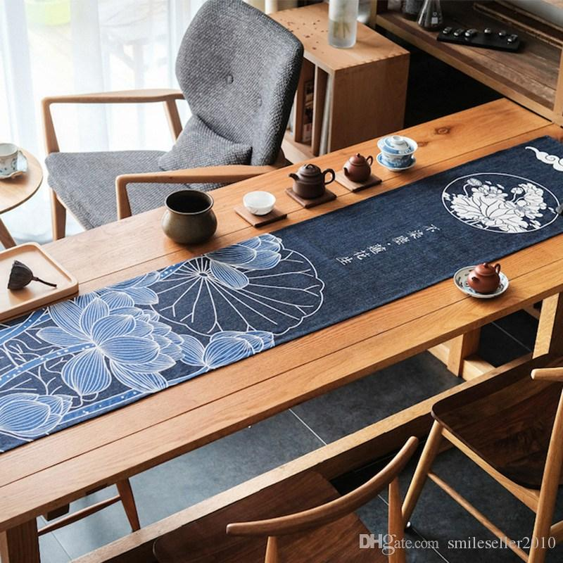 Linen Table Runner Japanese Style Lotus Pattern Table Runners Dustproof  Runners Home Textile Wedding Decoration Jm0339 Silver Table Runners Small  Table ...