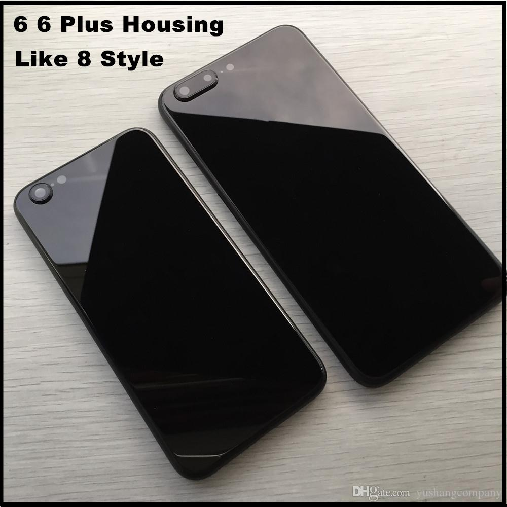 low priced 80ac3 cad4a Metal Back Housing Covers for iPhone 6 6 Plus Like 8 Style Housing Aluminum  Alloy Black Middle Frame Battery Door Replacement Cover Case