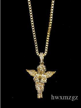 Men Woman Full Drill Angel Jesus Hip Hop 14K Gold Pendant Hip Hop Necklace