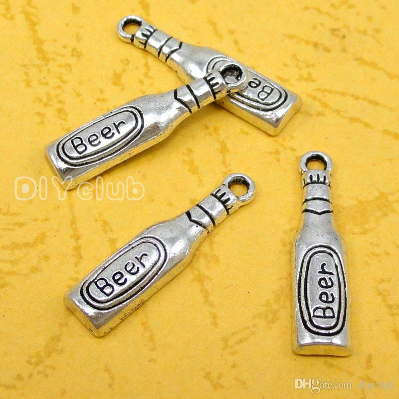 -Antique Tibetan Silver Bronze Bottle Opener Beer Bottle 3D Wine Glass Charm Pendant Connector DIY Charm Jewelry Making