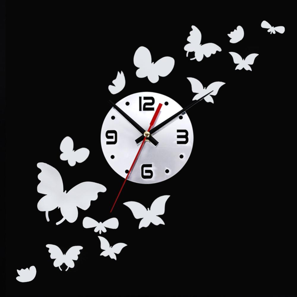 butterfly fashion diy 3d mirror wall sticker clock home decoration see larger image