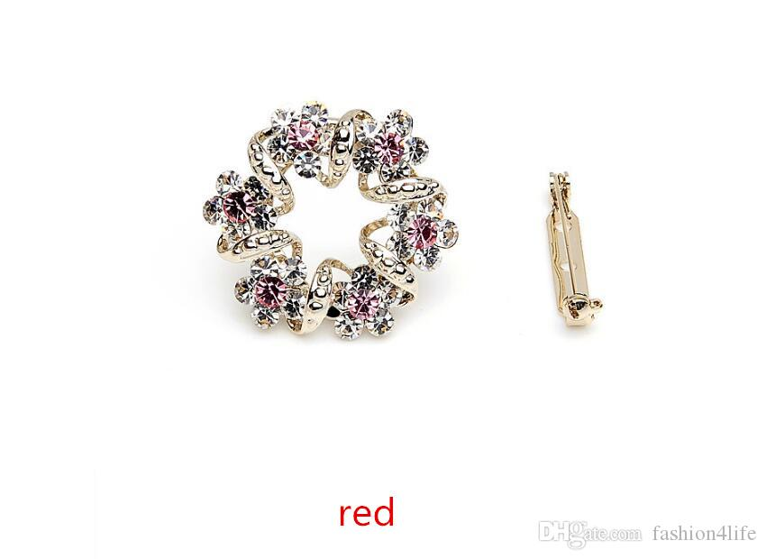 Fiore d'oro tempestato di diamanti Grandi spilla cristalli strass perni braccialetti le donne Accessori gioielli Regali di compleanno