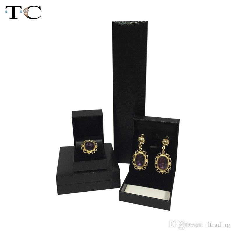 Ring Box Neclace Pendant Earrings Cases Jewelry Gift Boxes Organizer Cases Black Leatherette Packaging Gift Box