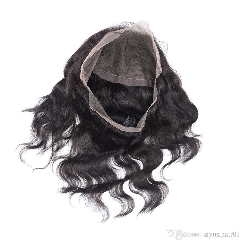 Предварительно Сорвал 360 Фронтальный С Пучками Перуанской Индийской Малайзийской Бразильской Девственной Волны Тела Волос Ткет Человеческие Волосы 360 Кружева Фронтальный