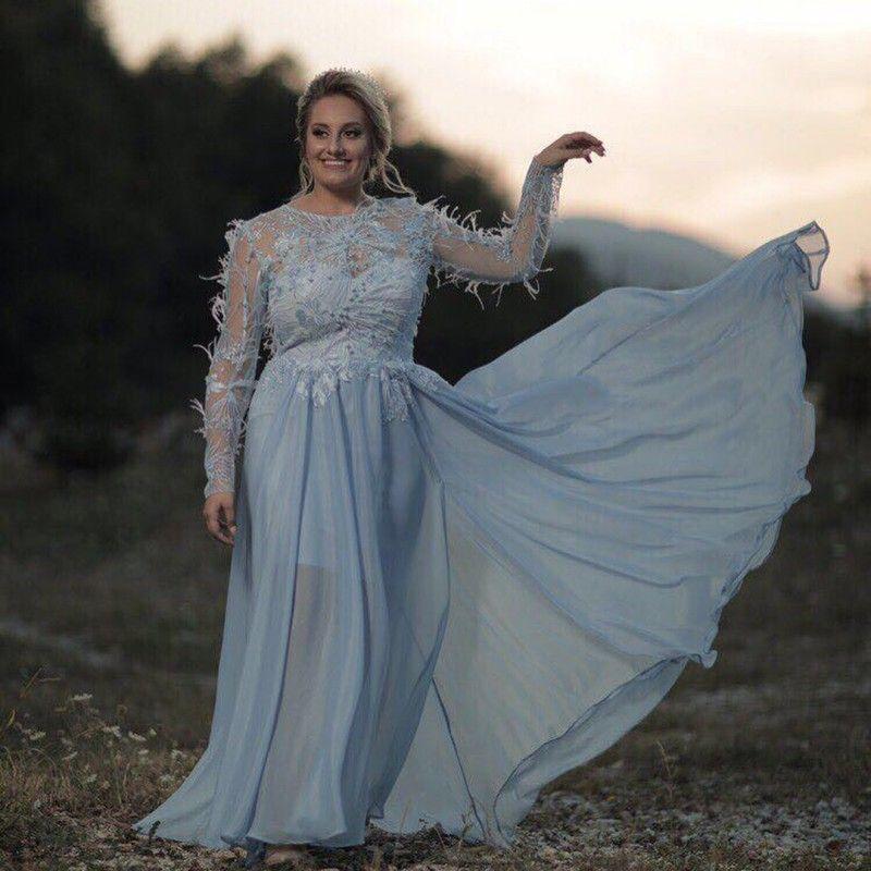 Light Blue Plus Size Feather Prom Dresses Long Sleeves Lace Applique ...