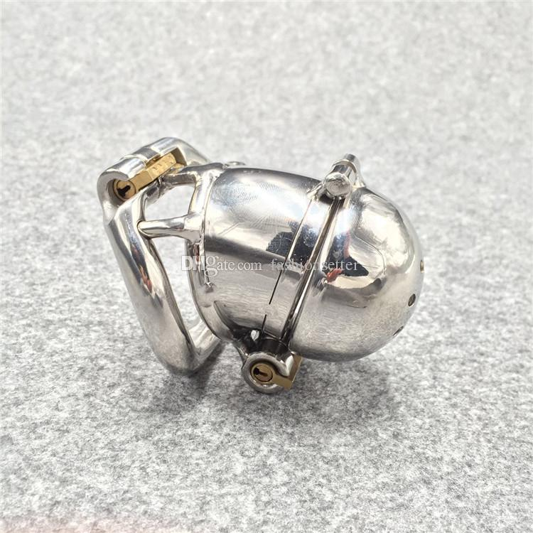 "New Double Lock Design Stainless Steel Small Male Chastity Device For Men Metal Penis Lock Chastity Cage For BDSM 2.5"" Cock Cage"