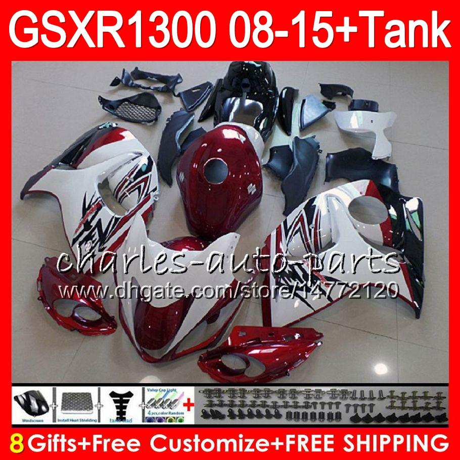 8Gifts 23Colors Para SUZUKI Hayabusa GSXR1300 08 09 10 11 12 13 14 15 TOP Rojo oscuro 19HM8 GSX R1300 GSXR 1300 2008 2009 2010 2011 Kit de carenado