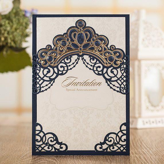 Dark Blue Wedding Invitations: Dark Blue Pearls Gold Crown Wedding Invitations Cards, By