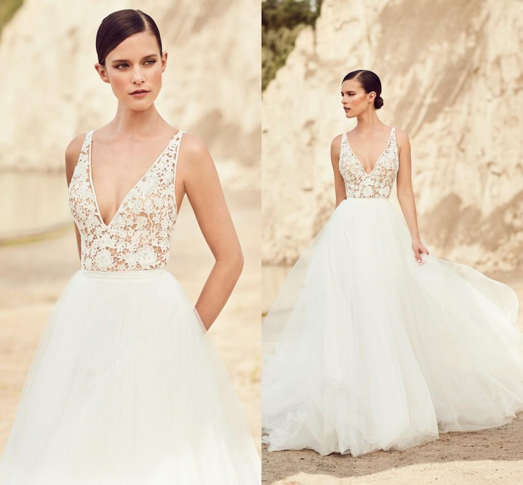 Discount Mikaella Lace Backless 2017 Beach Wedding Dresses