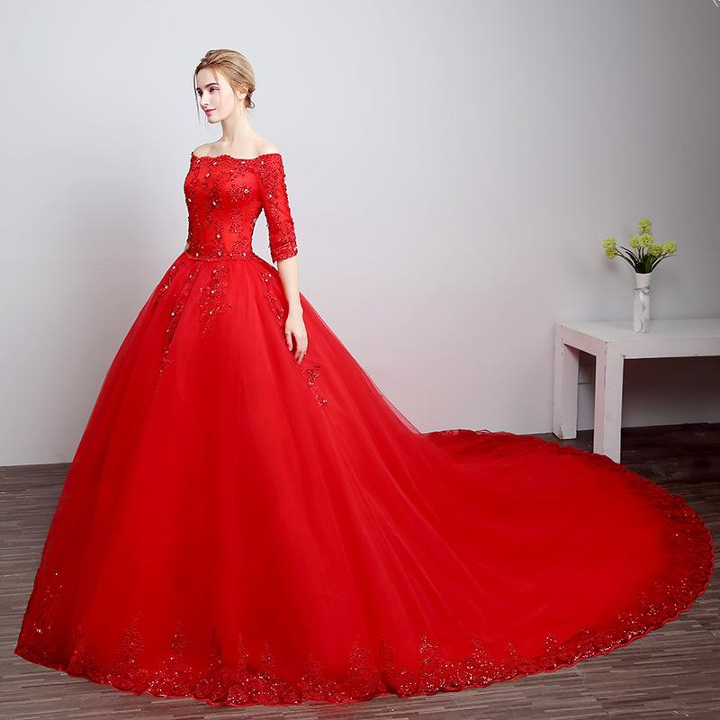 Bd602 fashion wedding dress customized plus size cathedral for Big red wedding dresses