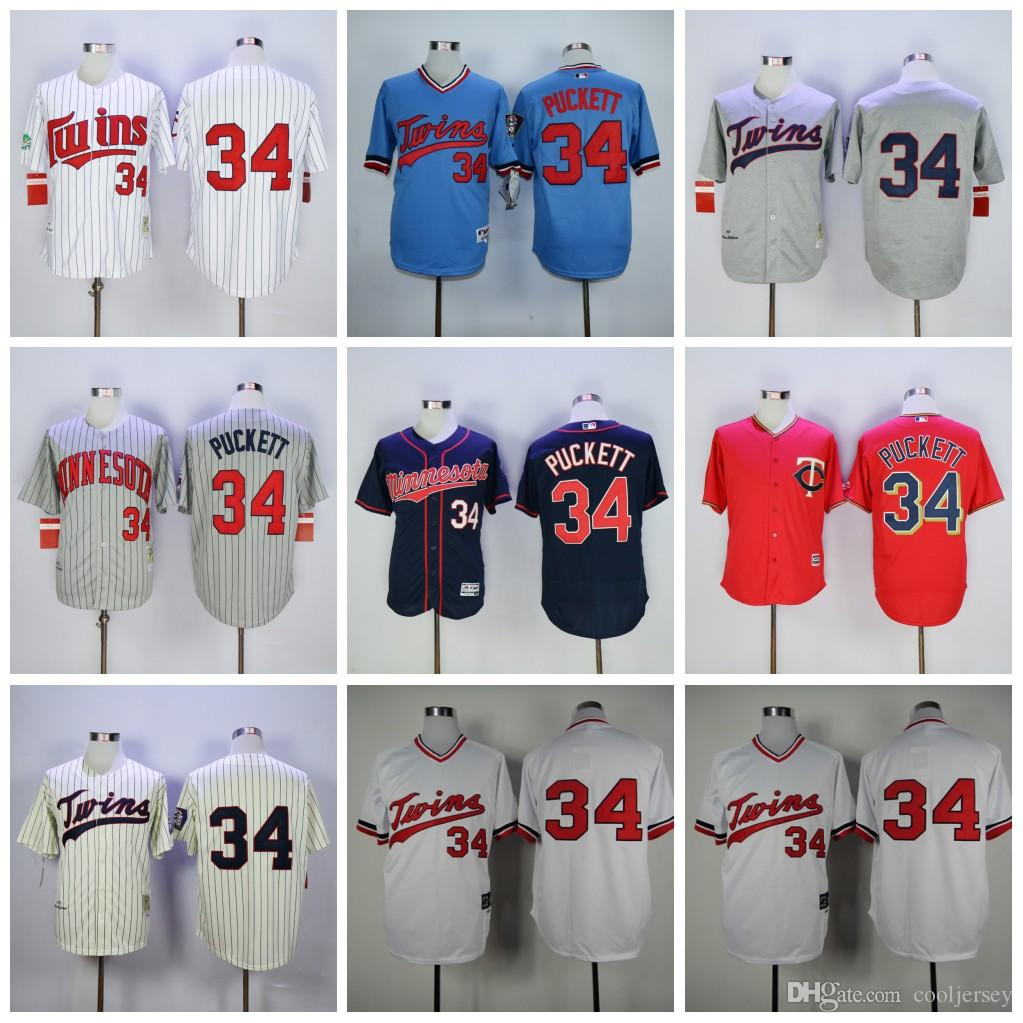 aaa1eec6cce ... 2017 Kirby Puckett Minnesota Twins MenS Majestic 34 Authentic 1987  Throwback Cooperstown Mlb Jersey White Blue ...