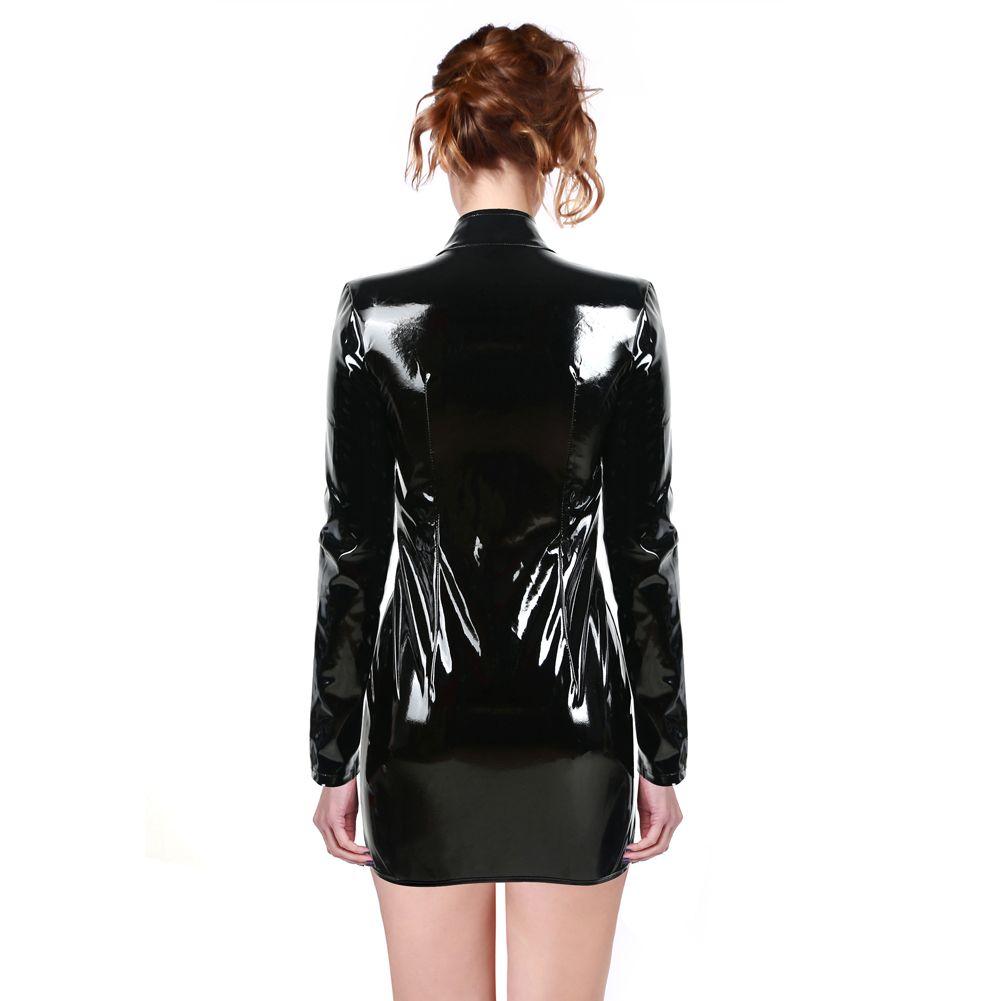 Glänzend Frauen-Schwarz-PVC-Kleid vorne Buckle Minikleid Langarm Keyhole Bodycon Catsuit Nachtclub-Partei-Kostüm