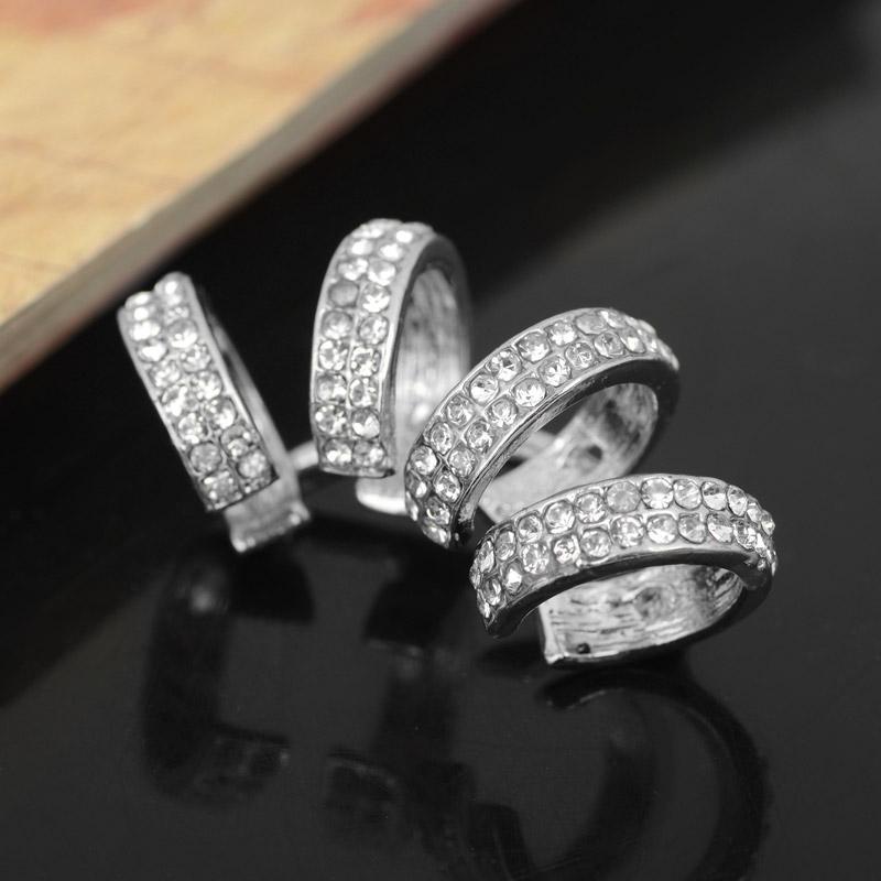 Delle signore delle donne di cristallo degli orecchini del polsino della clip sui monili di modo degli orecchini orecchini di clip unisex di cristallo strass No Piercing polsino dell'orecchio