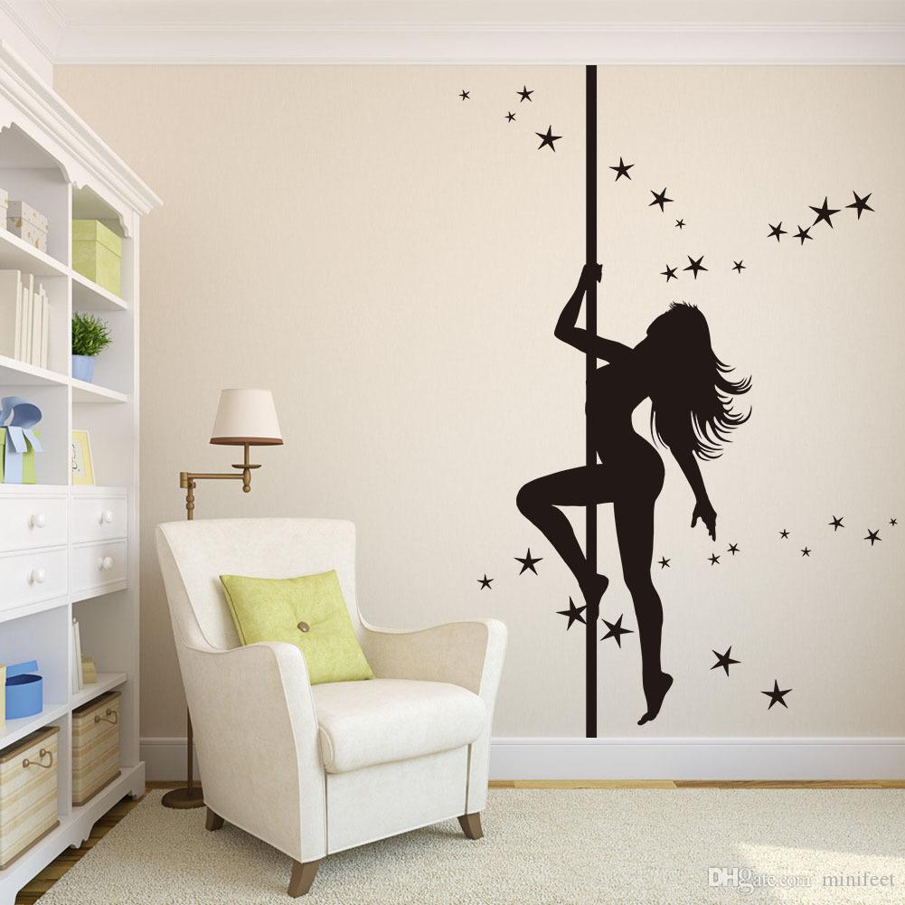 Dancing Girl Removable PVC Wall Stickers Living Room Bedroom Background Decoration Vinyl Wall Paper Waterproof Arts Stickers
