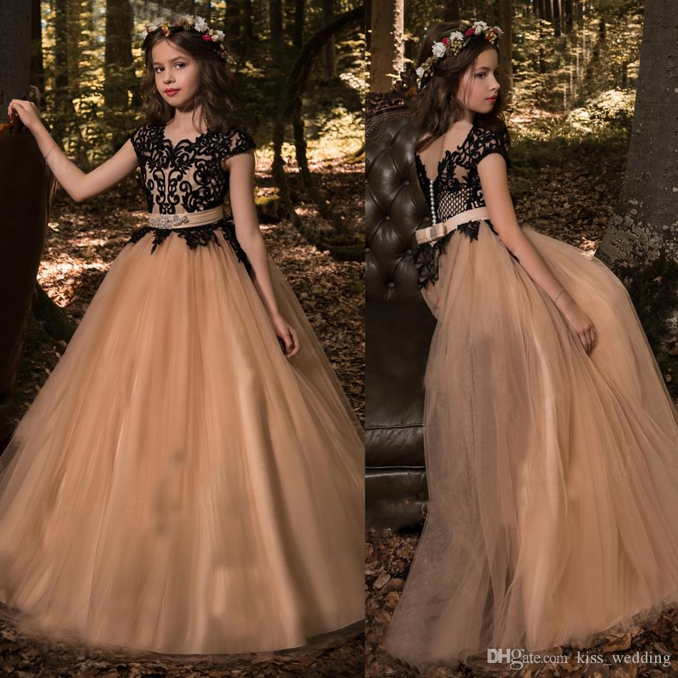 255841aaab86 Adorable Girls Long Pageant Dress Black Champagne Floor Length ...