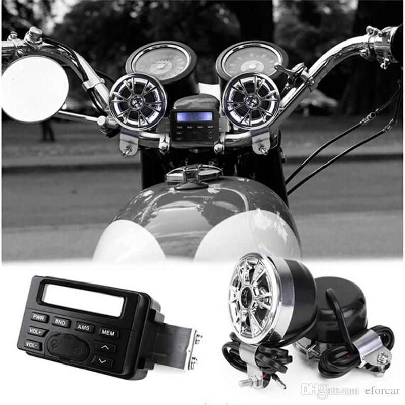 LED FM Motocicleta Rádio / Mp3 Speaker Stereo Player de Áudio + 2 Alto-falantes À Prova D 'Água Acessórios Da Motocicleta