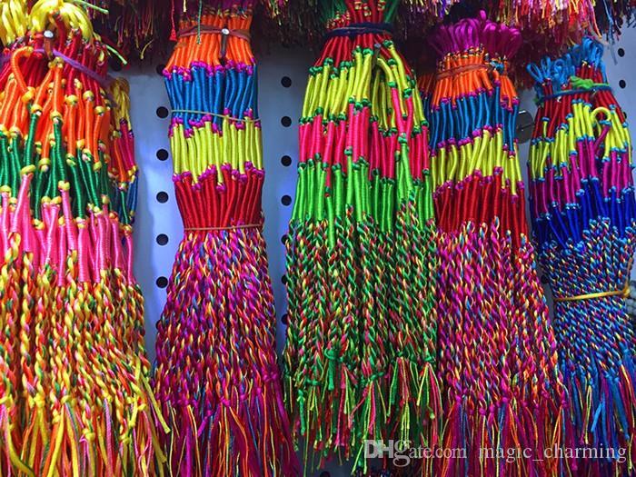 Deri Bilezik Marka Renkli Saf Manuel pamuk Infinity dokuma Bilezik El Yapımı Ucuz Örgü Kordon Strand Örgülü Dostluk Bilezikler