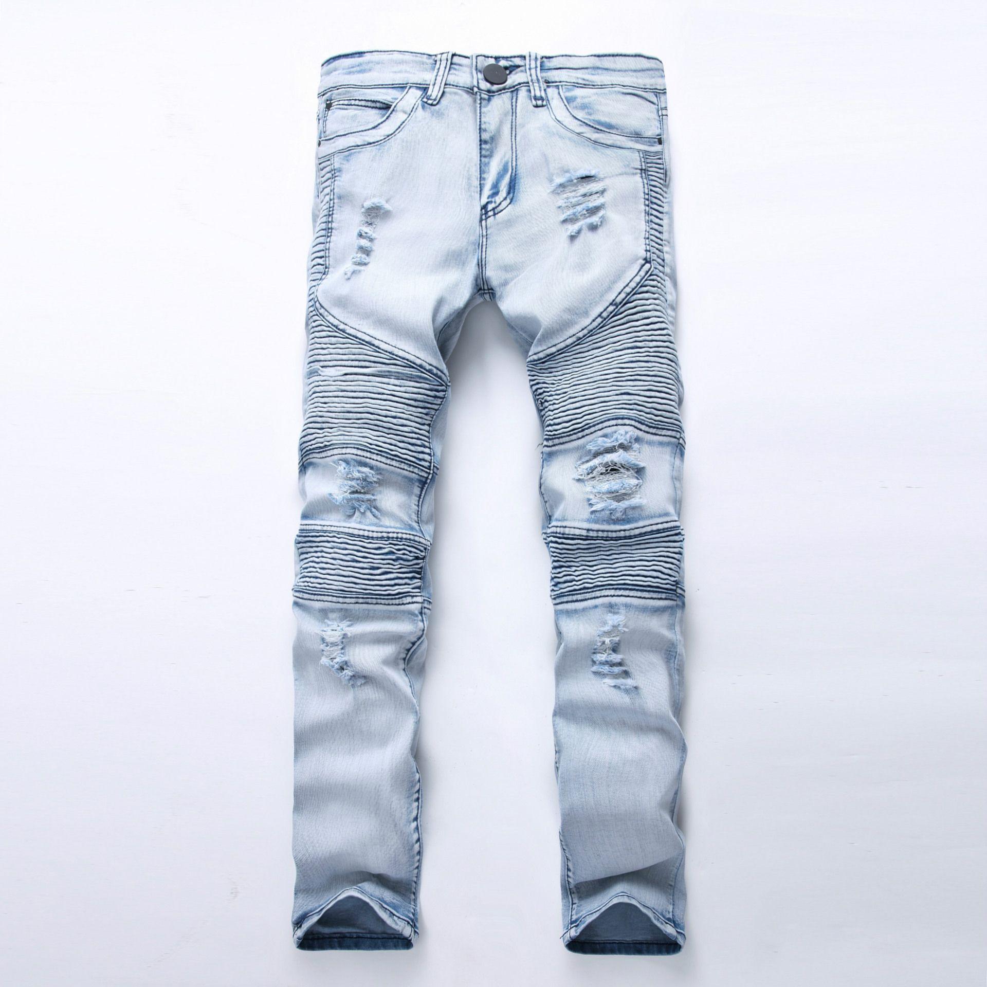 Compre Hombres Biker Jeans Ripped Denim Pantalones De Motocicleta ...