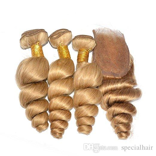 Las tramas al por mayor brasileñas del cabello humano de Brown claro con el cierre sueltan la onda # 27 Honey Blonde Virgin Hair 3Bundles con el cierre del cordón 4x4