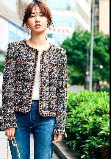 2018 new women's design brand fashion spring autumn long sleeve o-neck chain tweed woolen short coat star same style casacos
