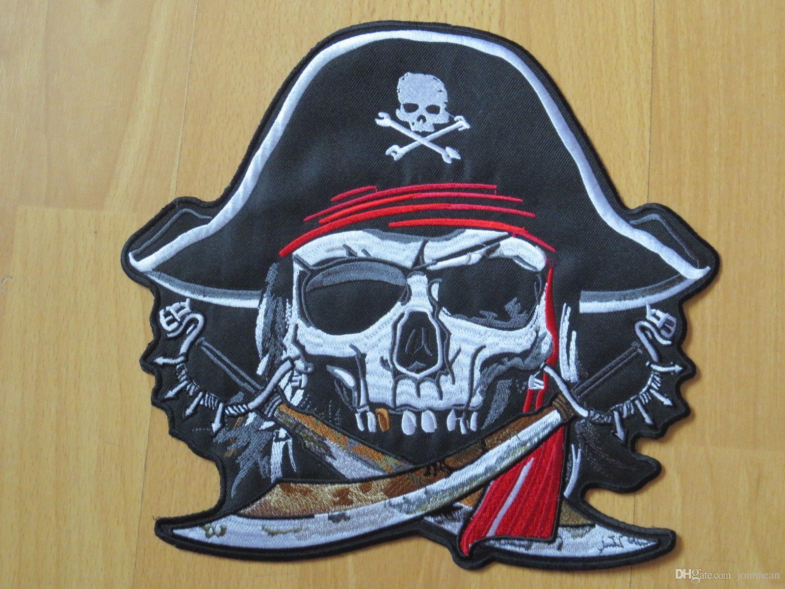 Il grande ricamo posteriore del rivestimento del cranio del cranio del pirata di modo riveste il ferro su cucia sul distintivo della maglia della maglia di 9.5