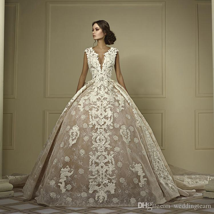 Beaded Wedding Dress With Detachable Train: Elegant Lace Ball Gown Wedding Dresses With Detachable