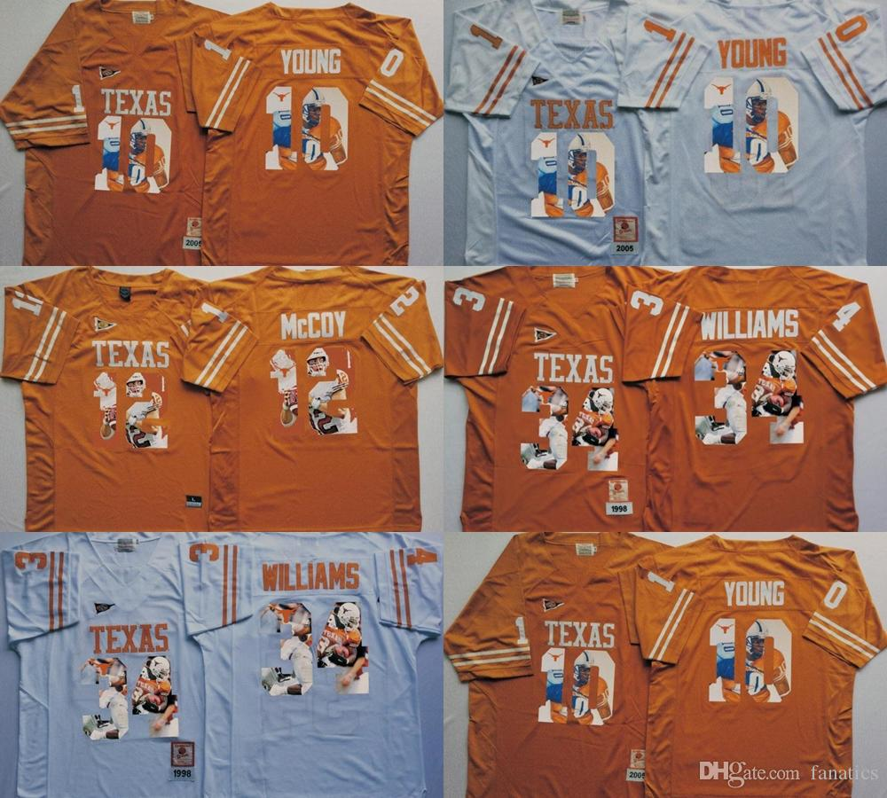 c0dc55b9 2017 Cheap Wholesale Men College Texas Longhorns 10 Vince YOUNG 4 Connor  Williams 12 Colt McCoy Mens White Jerseys Football Jerseys