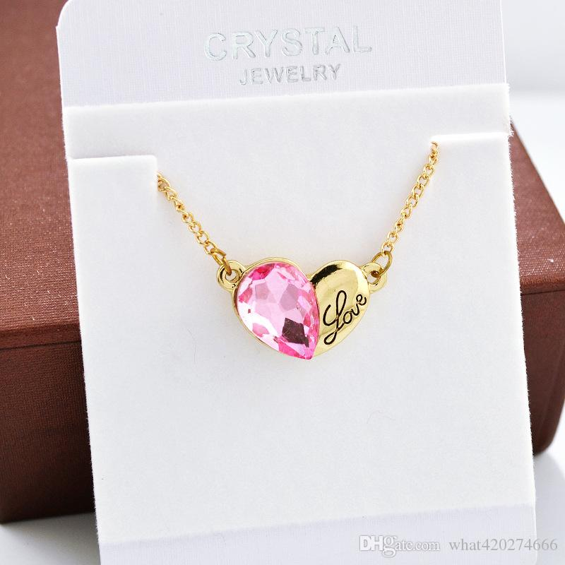 Pequeno Coração Carta Colar De Ouro E Cor De Prata Melhores Presentes De Natal Para Ela / Namorada Corrente De Prata Colar