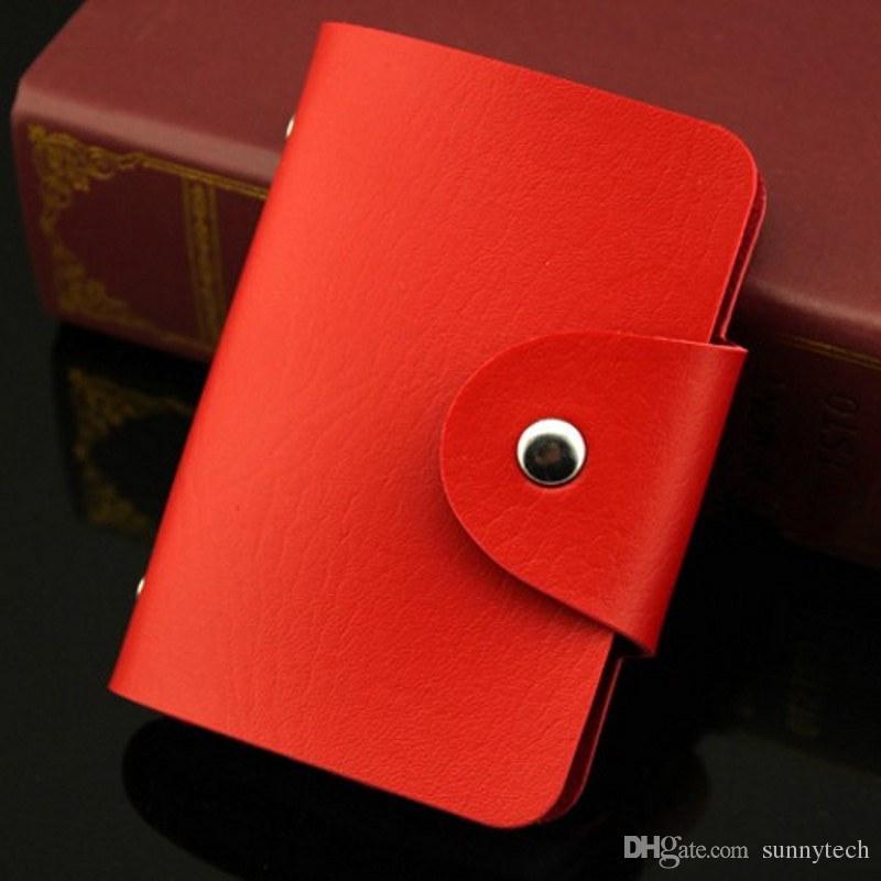 24 ranuras para tarjetas 2 caras de plástico titular de la tarjeta tamaño pequeño paquete de tarjeta de visita multicolor mujeres monederos hombres cartera al por mayor LZ0450