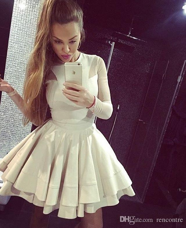 Hot Sale 8th Grade Prom Dresses Scoop A Line Long Sleeves Homecoming ...