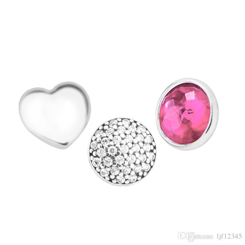 July Petites Synthetic Ruby & Clear CZ Charm for Locket necklace Charms Fits Pandora Bracelet sterling silver jewelry making charms
