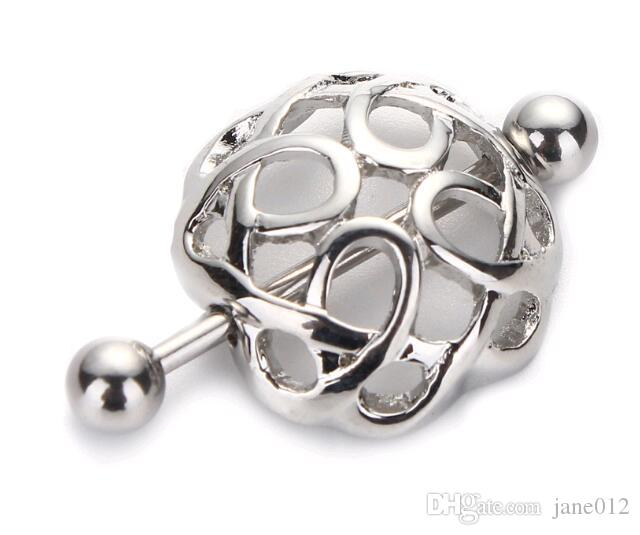 Simple Hollow Nipple Shields Covers Rings Ball Barbells 316L Surgical Stainless Steel Piercing Nipple Clips Chains on Sale
