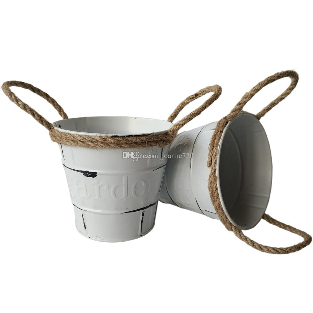 Charming 2018 Round D11*h10.5cm Rustic Metal Garden Pail Bucket Tin Box Iron Flower  Pots Cream Color Nursery Pot From Joanne720, $3.62 | Dhgate.Com