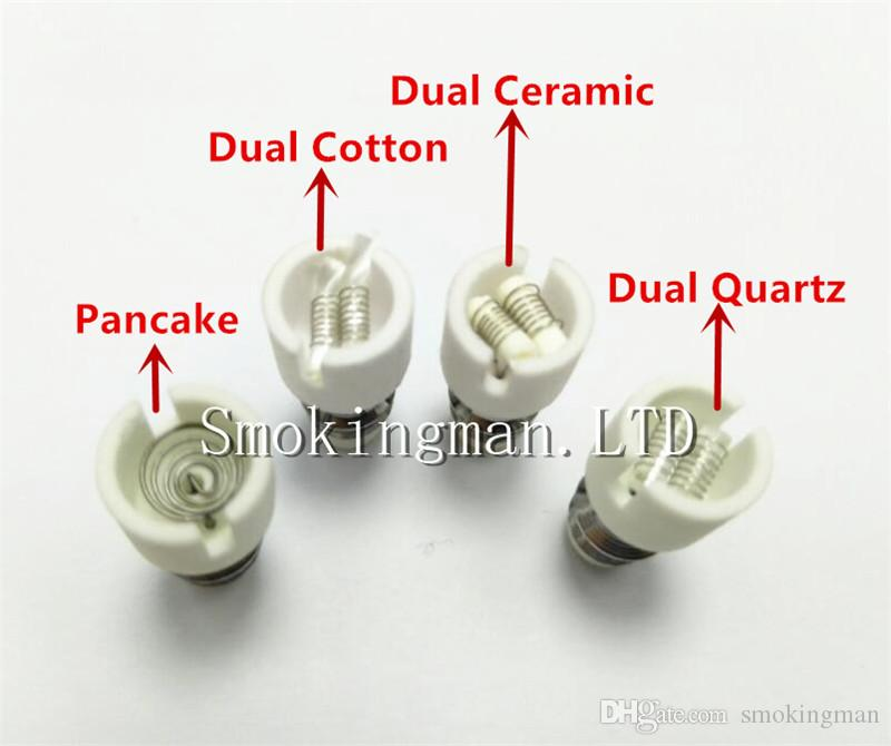 Hot Selling Quartz atomizer dual wax coil ceramic Ceramic Cotton Pancake rebuildable atomizer core for wax Glass globe vaporizer pen herbal