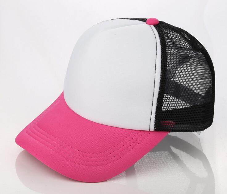 GX51-1 Hot pink-white-black. GX51-2 Rojo-blanco-negro. 10 unids Barato En Blanco  Trucker Mesh Sombrero de Primavera y Verano Snapback Gorra de Béisbol 52d8fc9e216