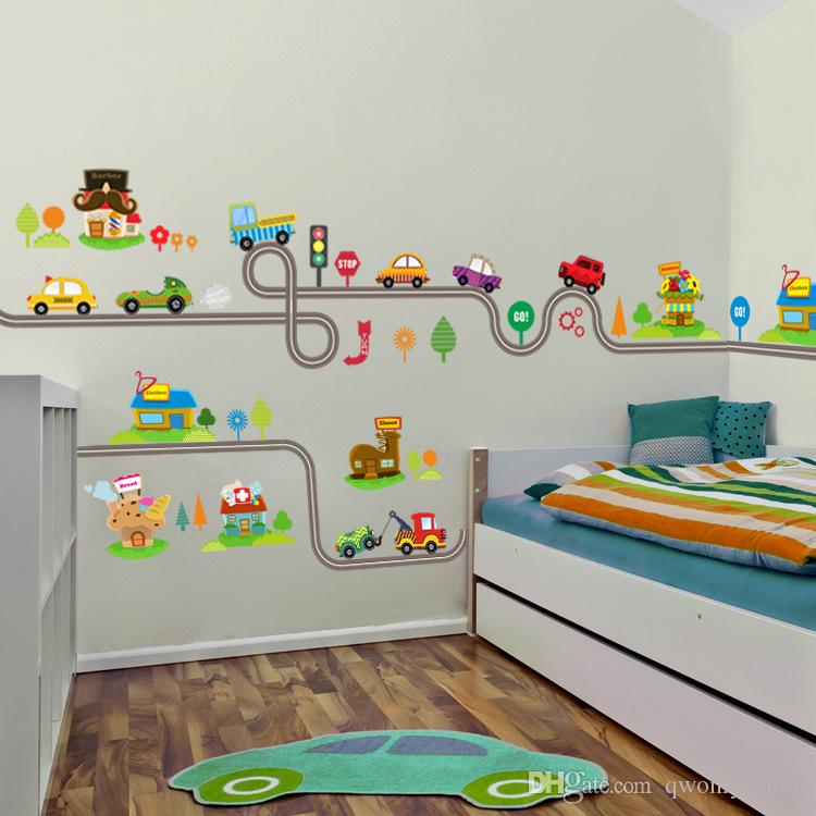 2017 cartoon cars highway track wall stickers for kids rooms sticker
