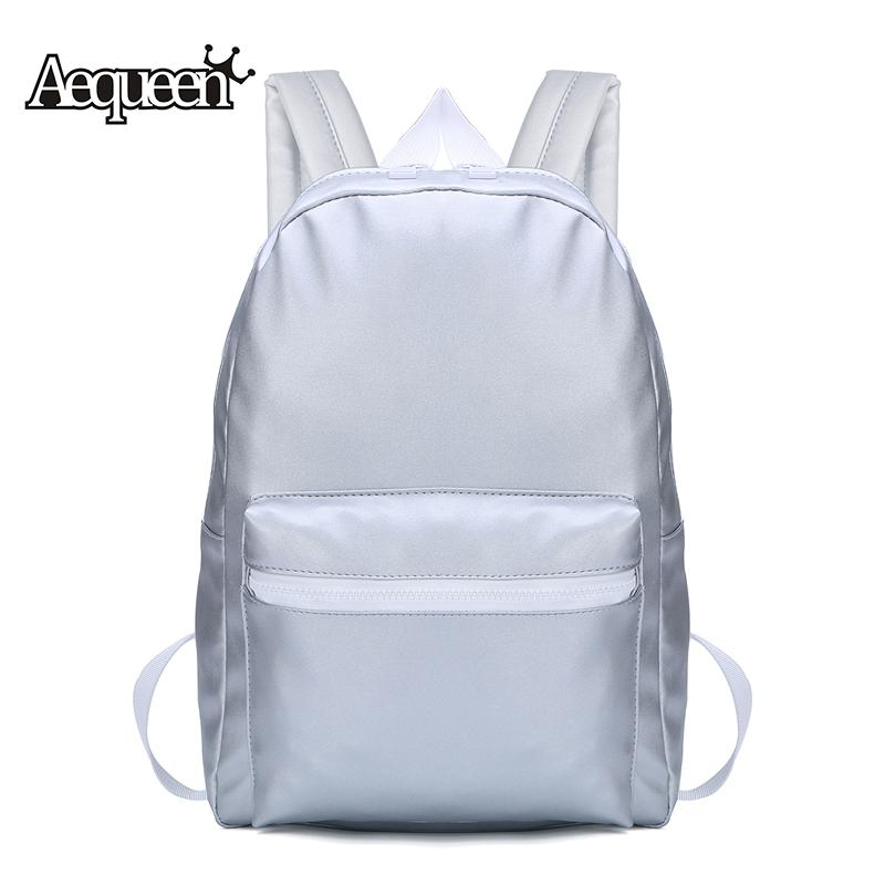 Wholesale Aequeen Women Backpack For Teenage Girls Silver Pu Leather Backpack  School Bags Rucksack Travel Pack Fashion B Backpacks For Girls Waterproof  ... 110fdba4cc2dc