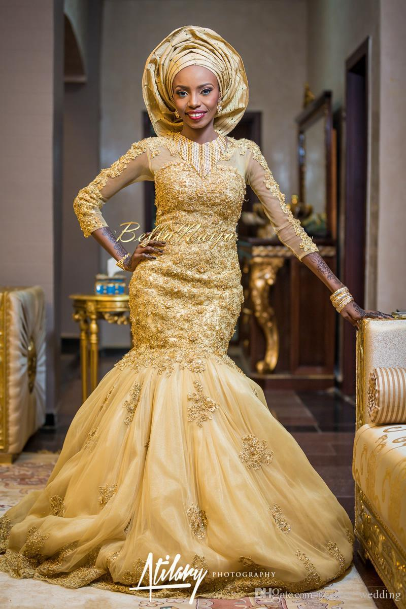 2016 Gold African Traditional Lace Wedding Gowns Beaded Jewel Neck Beaded Appliques 3/4 Long Sleeves Tulle Chapel Train 2017 Bridal Gowns