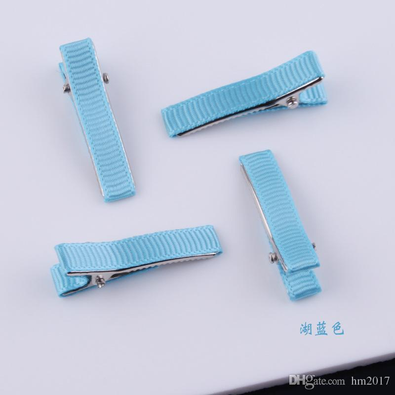 Mix Colors 34mm Double Prong Alligator Hair Clip for Kids Bow Satin Ribbon Pin DIY Hair Accessories